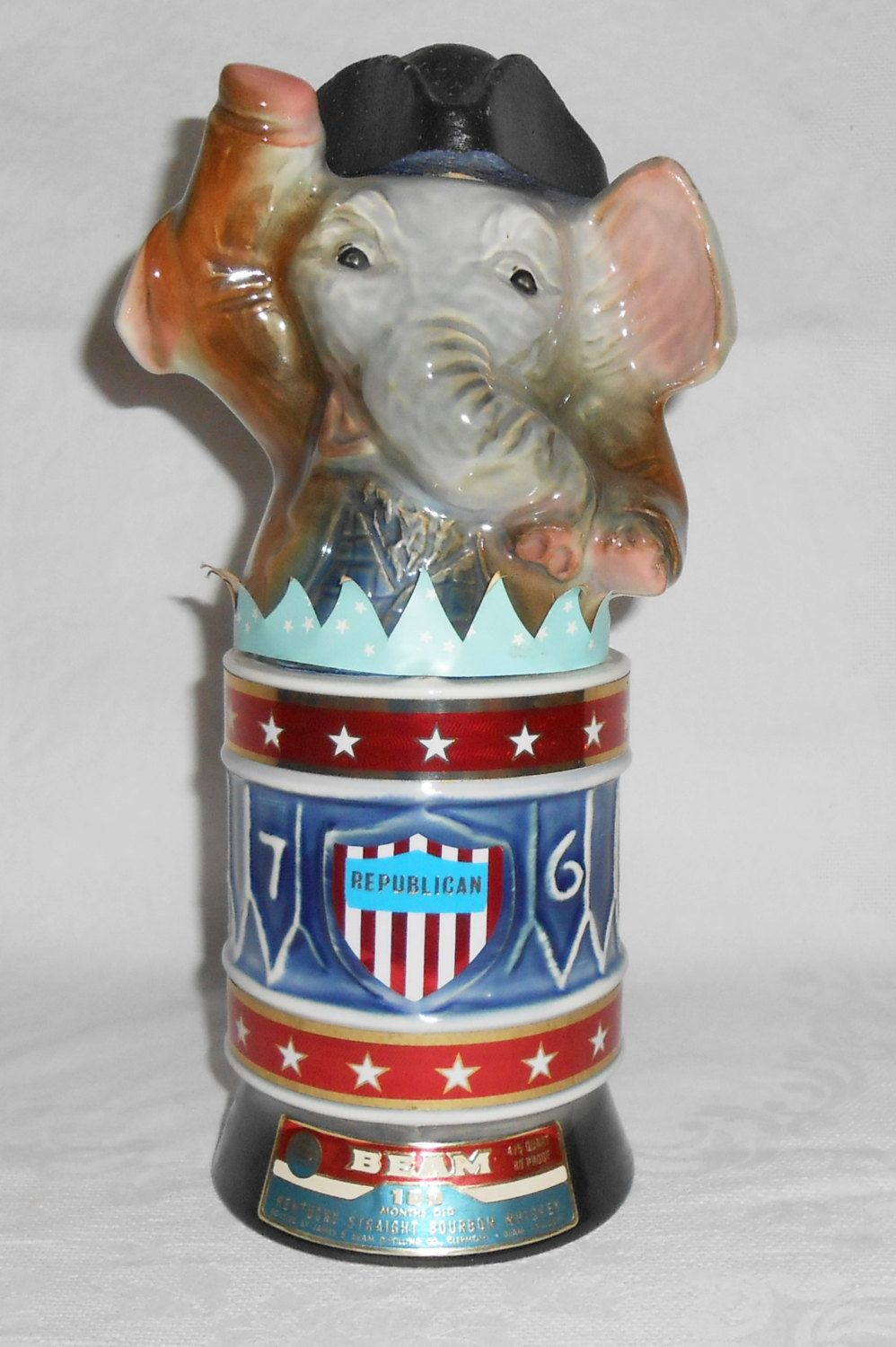 1976 Jim Beam Republican Elephant Whiskey Decanter Empty