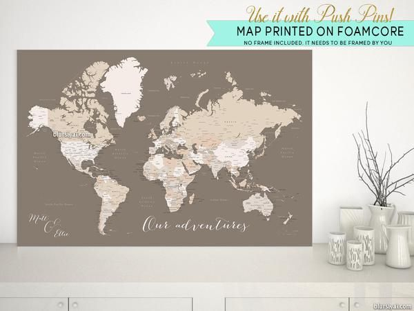 Personalized world map with cities as foamcore print push pin