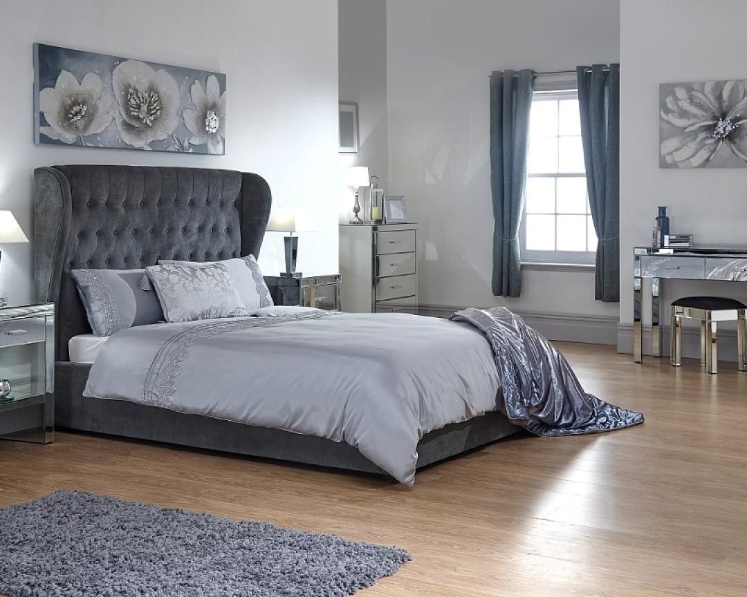 Dakota Fabric Pewter Grey Ottoman Lift Up Storage Bed