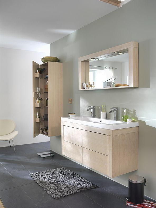 Salle de bain beige clair COOKEandLewis Silver wwwcastoramafr - Meuble Avec Miroir Pour Salle De Bain