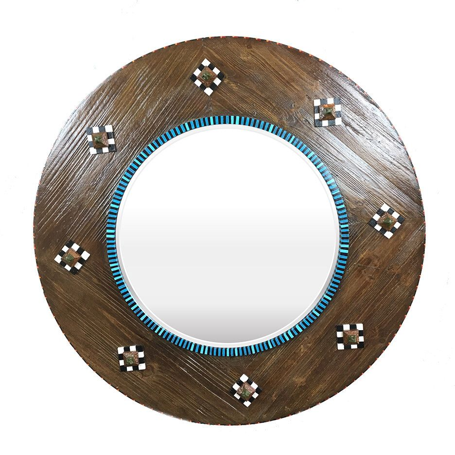 Round wood framed beveled mirror large round mirror Round framed mirror