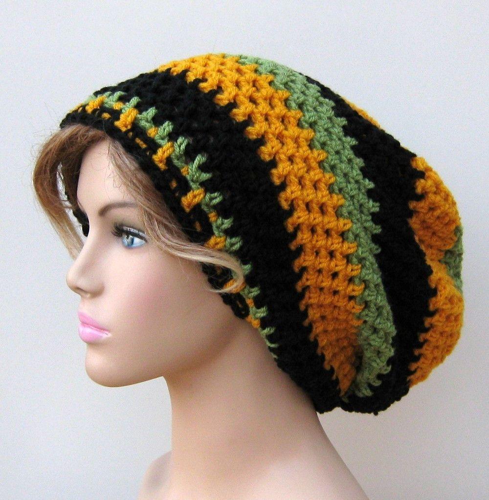 Jamaica Flag Inspired Slouchy Beanie Dread Tam Hippie Boho ...