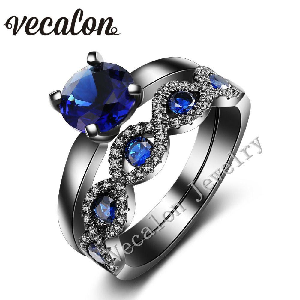 Vecalon Cross Women Wedding Band Ring Set 2ct Blue Stone AAAAA Zircon Cz 10KT Black Gold