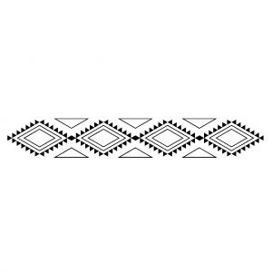 Tampon support bois Style Ethnique 2,6 x 10 cm Frise totem x1