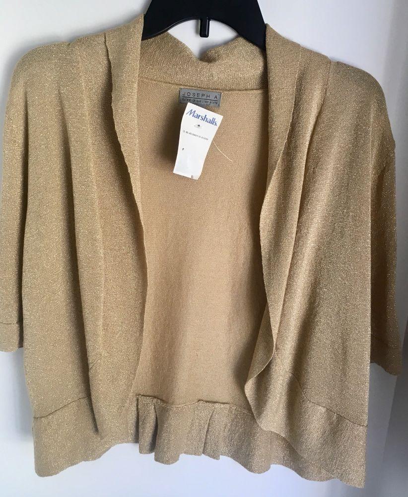 c953a0babaa Joseph A. Woman's XL Gold Cardigan Shrug Cropped Open Front Crochet NWT  #JosephA #Cardigan