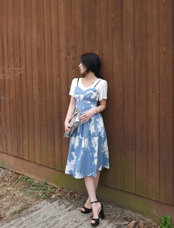 [reflower] 나염탑/Crop top skirt set : 리플라워