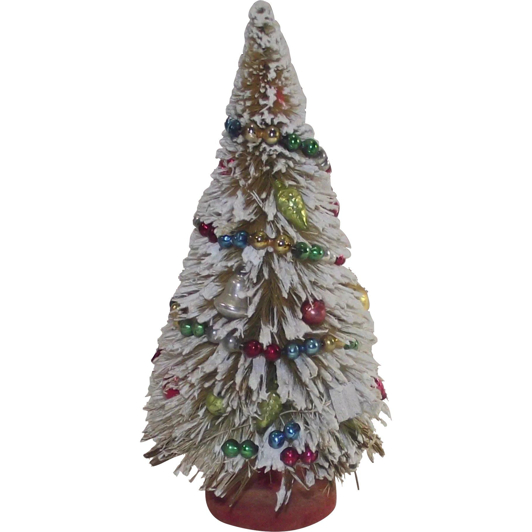 Flocked Bottle Brush Tree With Glass Garland And Ornaments 1950s Vintage Christmas Ornaments 1950s Vintage Christmas Ornaments Christmas Ornaments