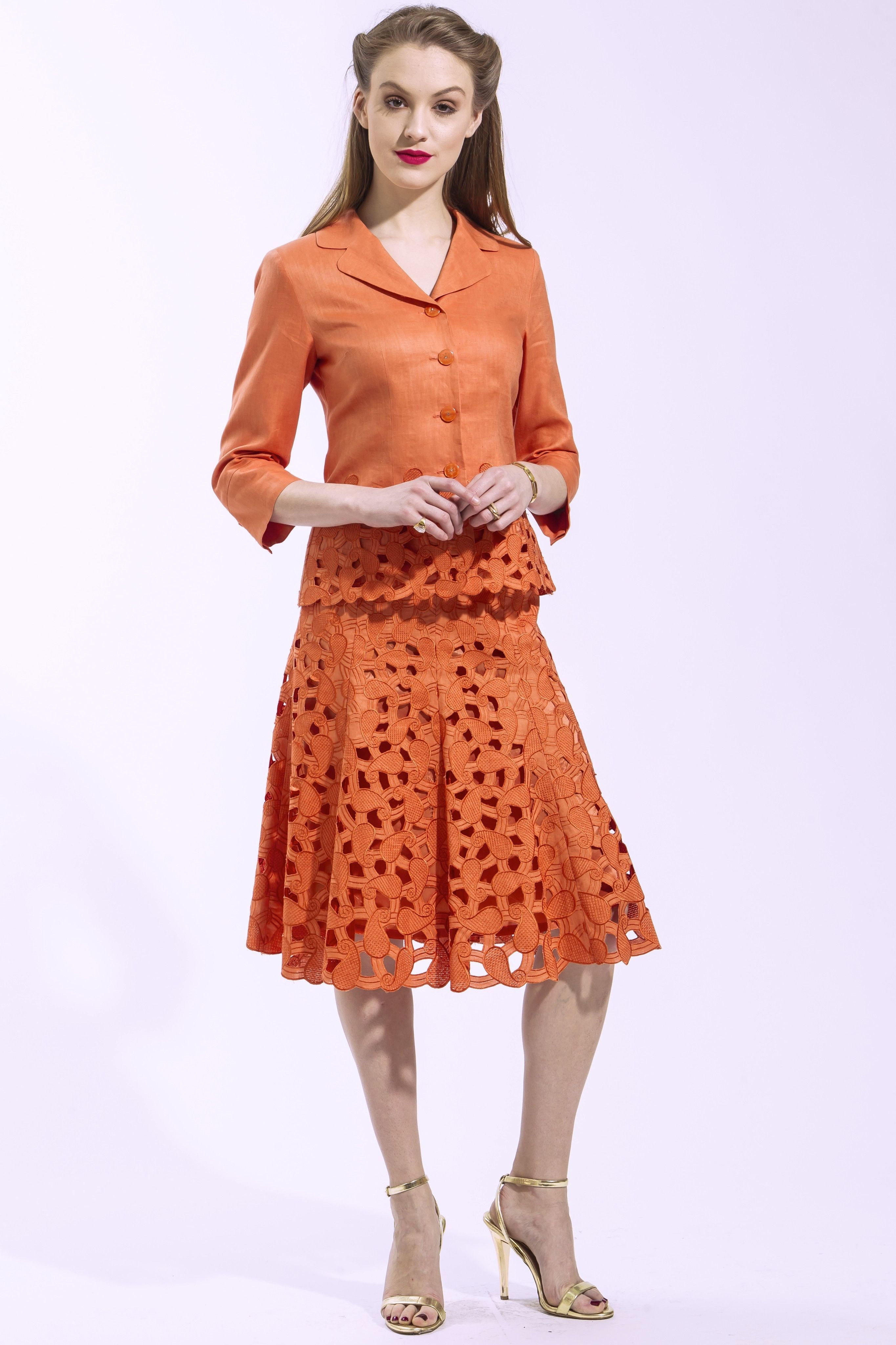 piece jacket and skirt paisley suit orange style s
