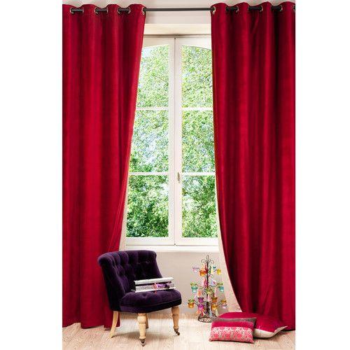 velours lin rouge et beige 140 x 300 cm