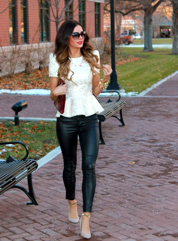 4706dc7fb271 Peplum top + Skinny leather pants + neutral pump... I love it! Looks like  these pants are leather in the front & a different fabric or texture in the  back!