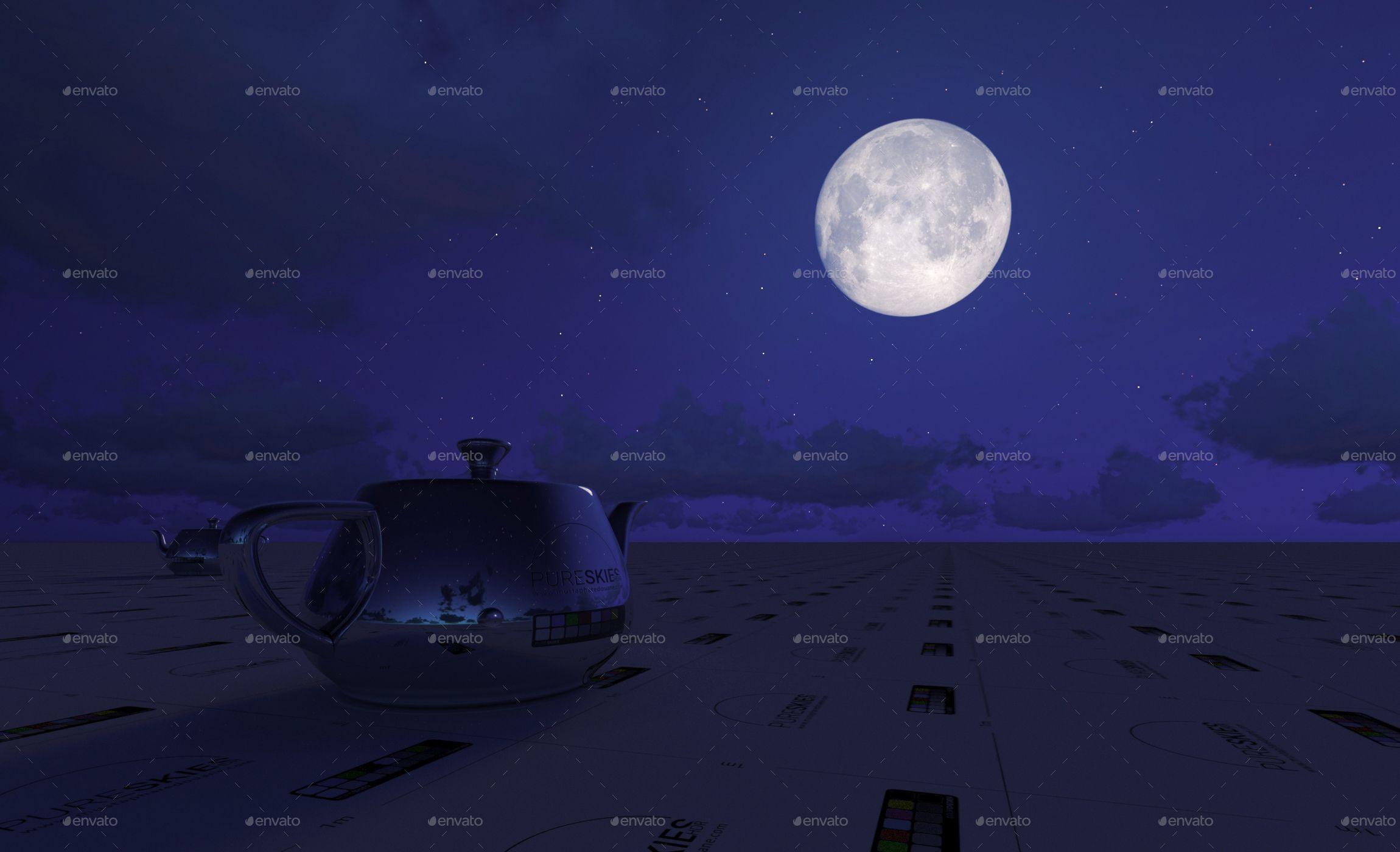 PureSkies HDR: 24k Super Moon & Stars Night sky for IBL #Super