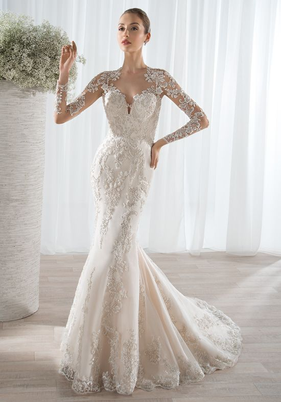 3fe7ba7177bb6 This sophisticated beaded lace fit n flare gown features a sheer illusion  neckline with lace appliques on sheer long sleeves and a sheer back.