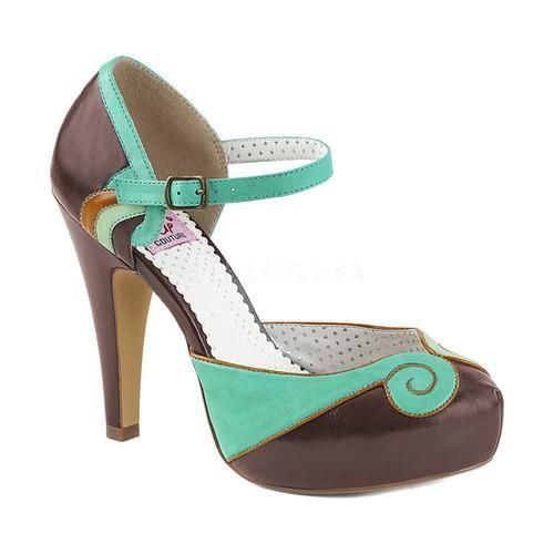 61883fe90ed Women s Pin Up Couture Bettie Quarter-Strap d Orsay Pump Teal-Brown Faux