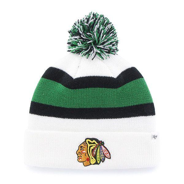 0e606f525 Chicago Blackhawks 47 Brand White Black Green Knit Cuff Breakaway ...