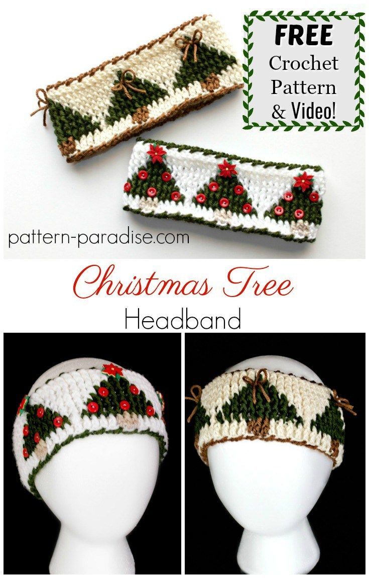 Free Crochet Pattern: Christmas Tree Graph Headband | Pattern ...