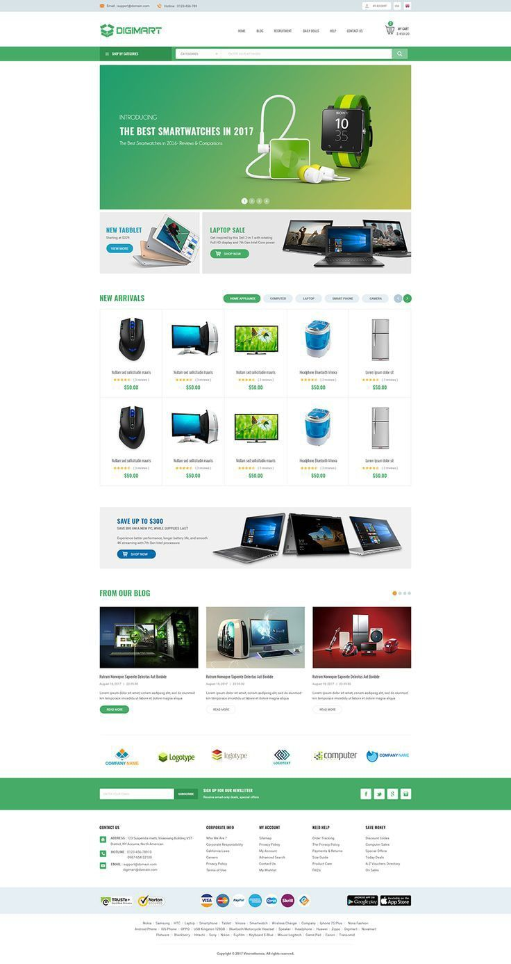 Electronic products selling websites themes for wordpress