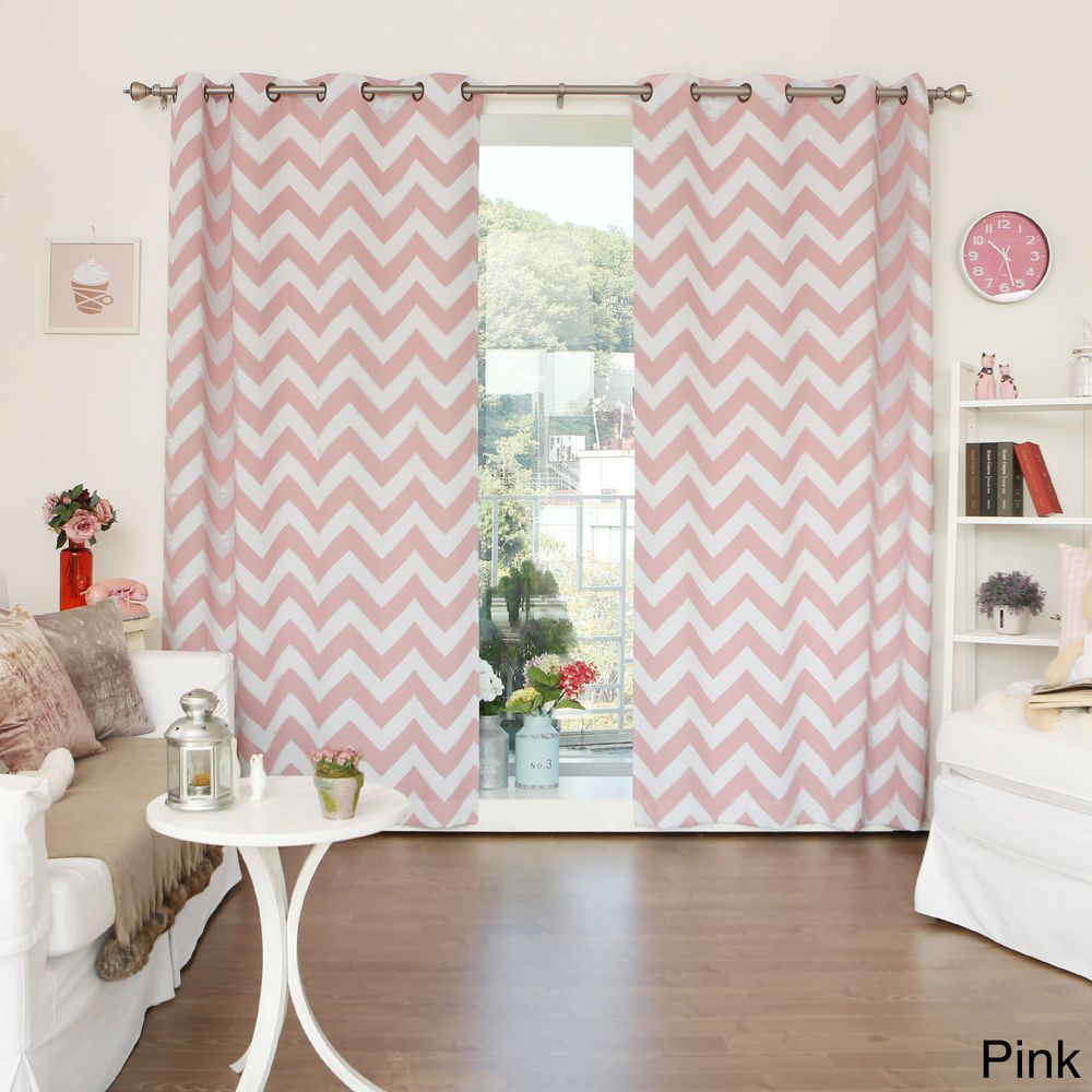 Curtain pair overstock shopping great deals on lights out curtains - Aurora Home Chevron Print Room Darkening Grommet Top 96 Inch Curtain Panel Pair By Aurora Home