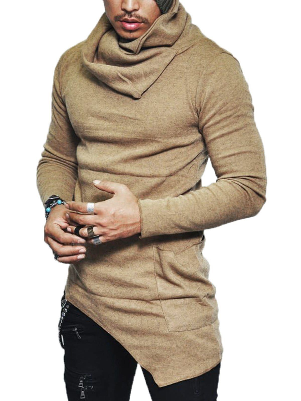 One Pocket Cowl Neck Asymmetrical Sweater Mens Clothing Styles Men Shirt Style Asymmetrical Sweater [ 1596 x 1200 Pixel ]