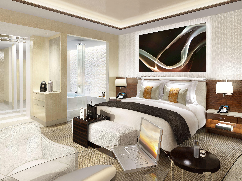 Rendering of guestroom at fairmont baku designed by hba hirsch bedner associates