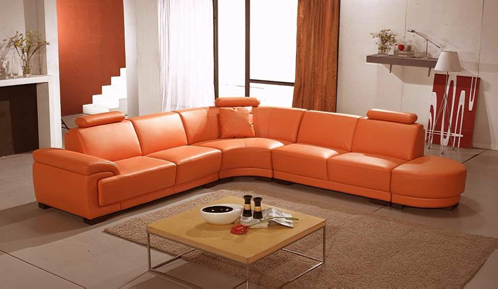 Orange Leather Sofas Bright Look With Warm And Comfortable Atmosphere Sofa Decor Best Leather Sofa Leather Sofa
