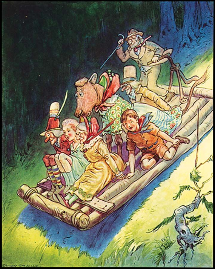 """Down, down, the Slide Raft sped, until it was going so fast that its occupants could not talk."" MAGICAL LAND OF NOOM (1922) - Johnny Gruelle. (Echo Point Books)"