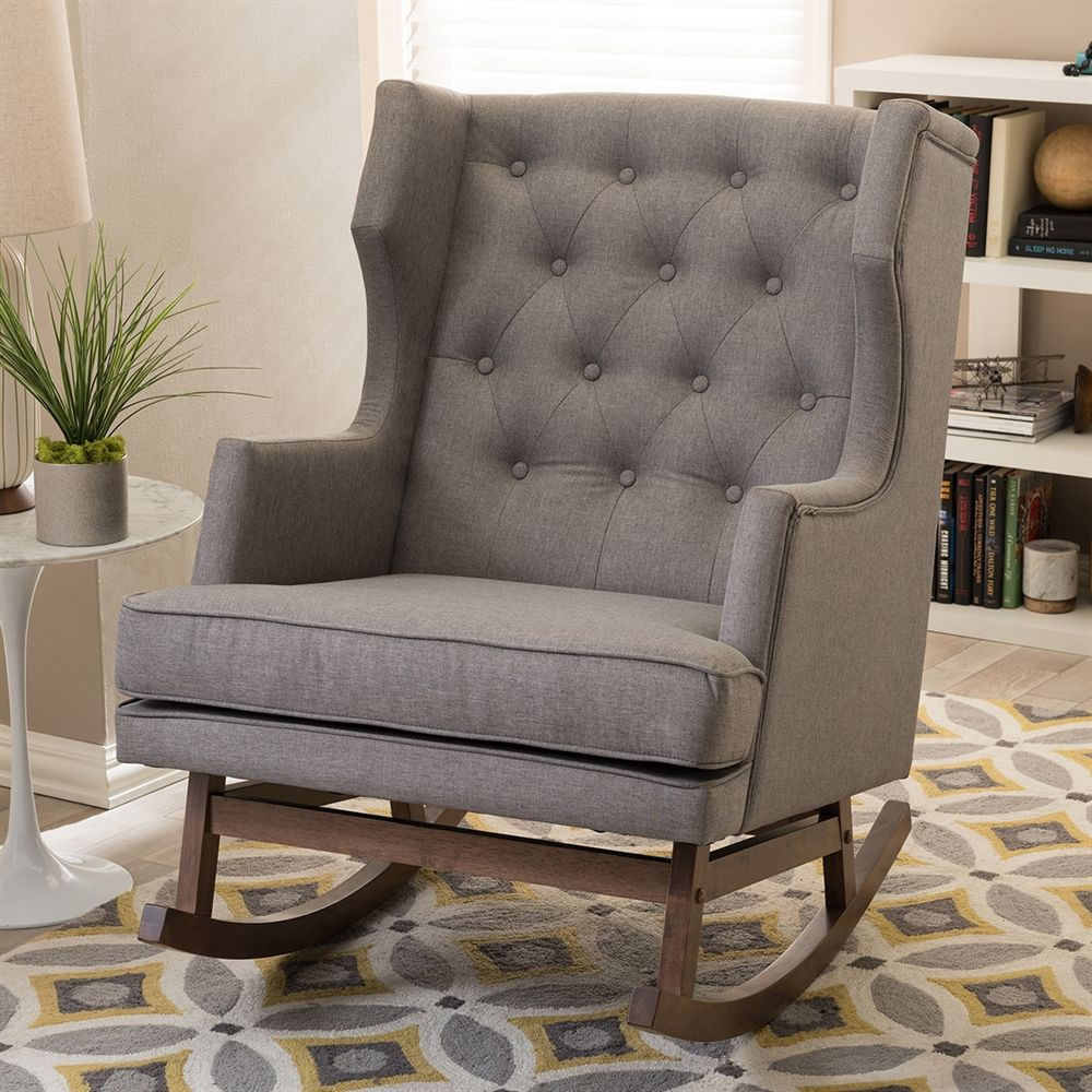 Shop Baxton Studio BBT5195 Iona Wingback Rocking Chair at