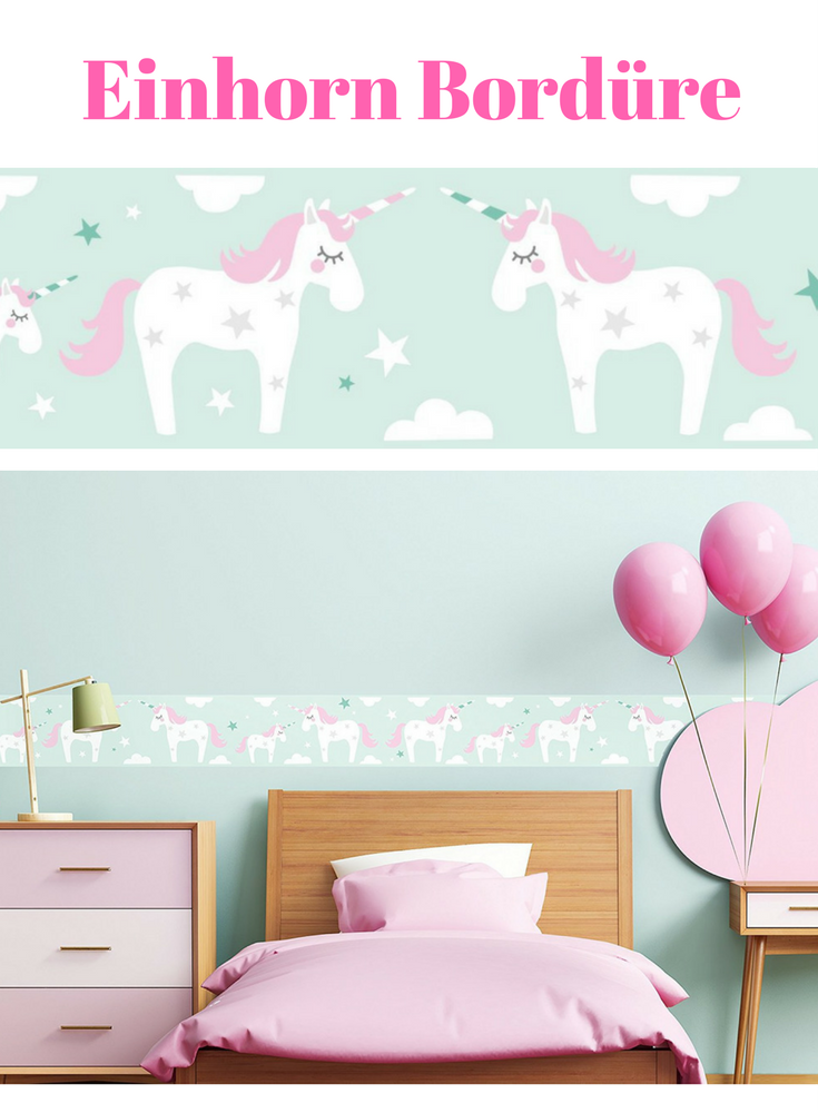 einhorn tapete bord re bord re selbstklebend einhorn rosa mint wandbord re kinderzimmer. Black Bedroom Furniture Sets. Home Design Ideas