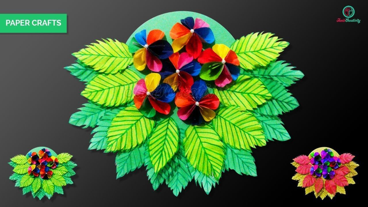 How to make paper flower u leaf wall hanging with paper crafts ideas