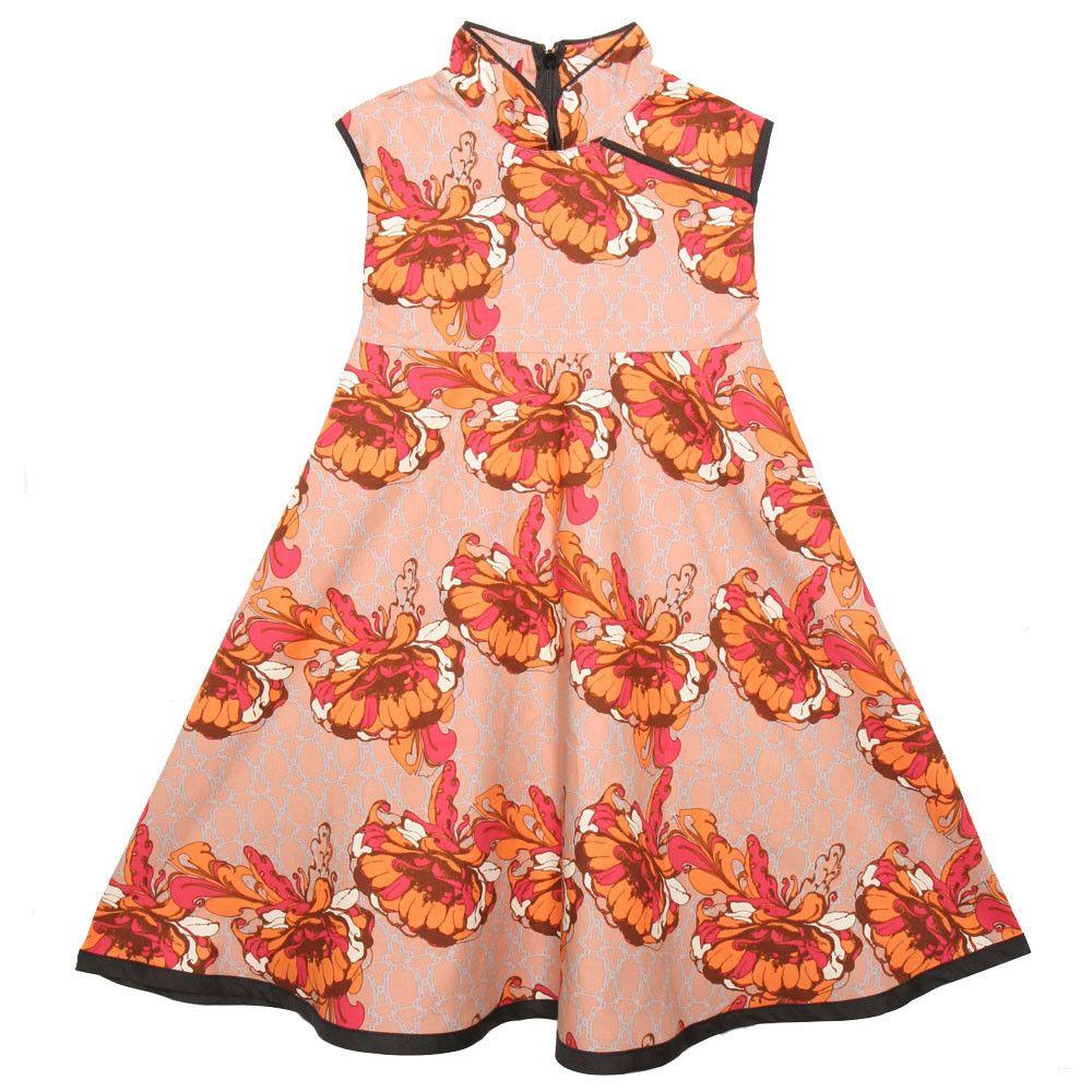 Mandarin Swing Dress Smokey Topaz Floral – Redfish Kids