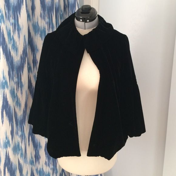 Cabi velvet coat Black soft velvet, single button at top, rouched Peter Pan collar.  Sleeves are 3/4 length and blousey CAbi Jackets & Coats