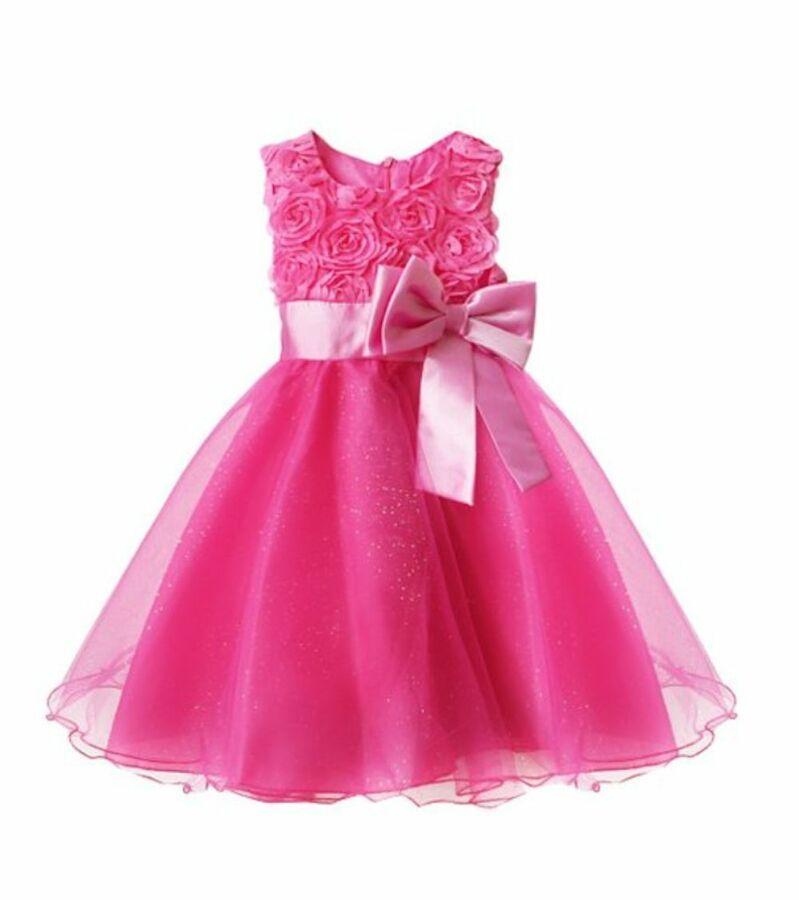 Girls Bridesmaid Dress Baby Flower Kids Party Rose Bow Wedding Dresses Princess
