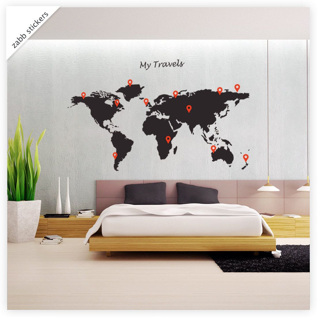 Map wall decal globe world my travels and markers vinyl wall items similar to world map wall stickers wall decal wall sticker home wall decor matt black large 111cm x 55cm zabb on etsy gumiabroncs Gallery