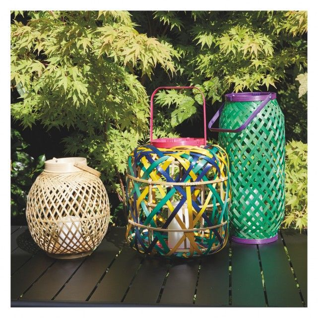 Riband multi coloured woven bamboo lantern 26x32cm buy now at add a stylish edge to your garden with habitats range of outdoor lighting and accessories whether youre looking for lanterns decorations or more workwithnaturefo