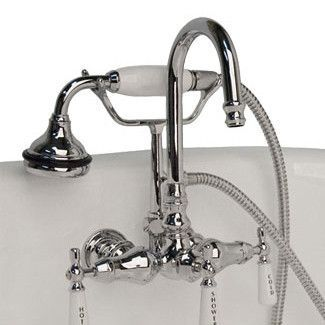 wall mount clawfoot tub faucet handheld shower. Cambridge  Clawfoot Tub Brass Wall Mount Faucet with Hand Held Shower