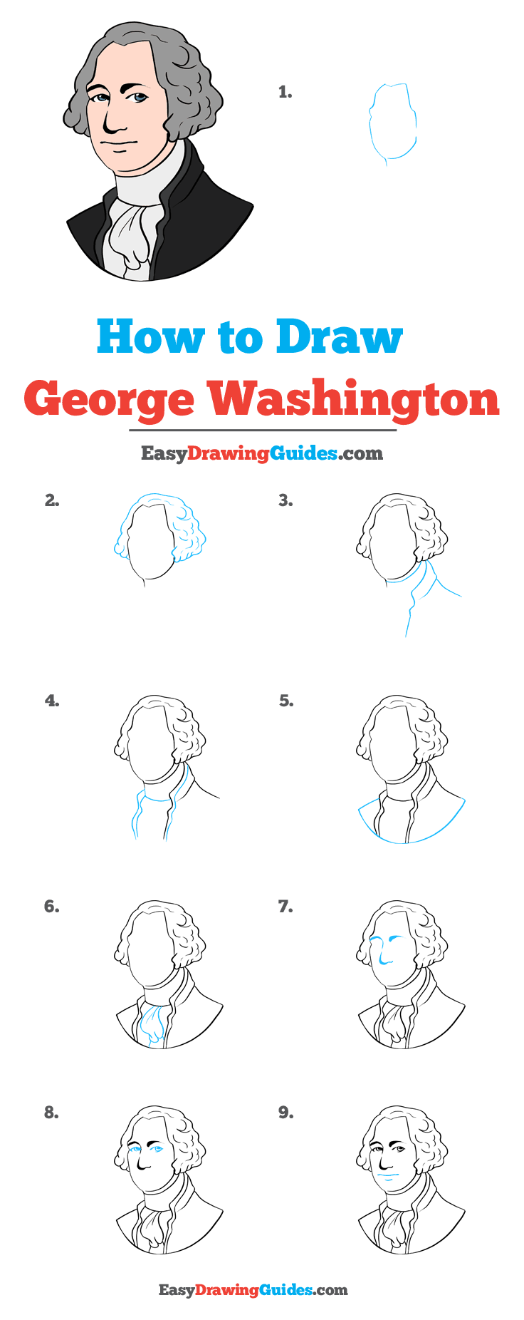 George Washington Drawing Easy : george, washington, drawing, George, Washington, Really, Drawing, Tutorial, Drawings,, Easy,, Cartoon