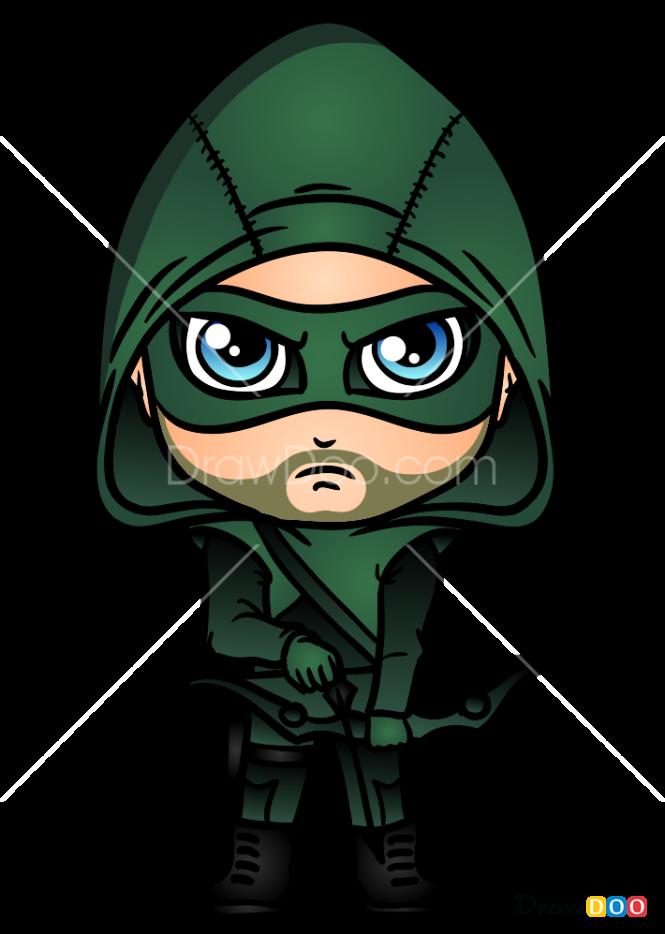 How To Draw Green Arrow Chibi Superheroes Green Arrow Arrow Drawing Arrow Art