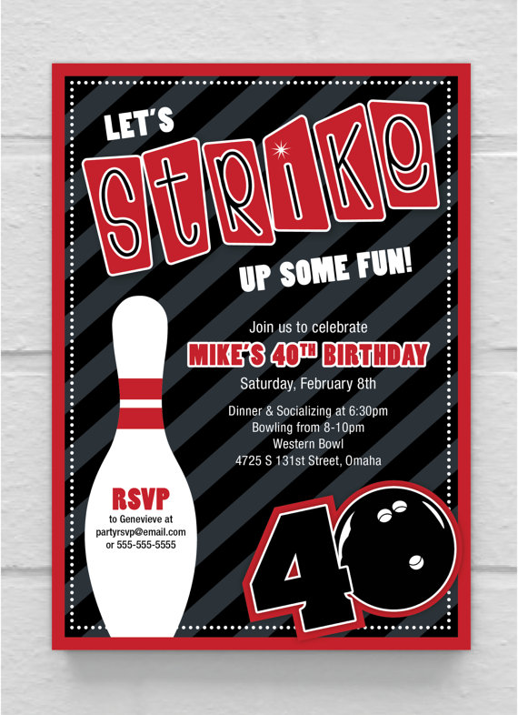Printable Bowling 40th Birthday Invitation by SimplySaidbyCourtney - bowling invitation