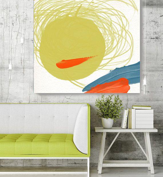 Happy Mood II Green Geometrical Abstract Art Wall Decor | Abstract ...
