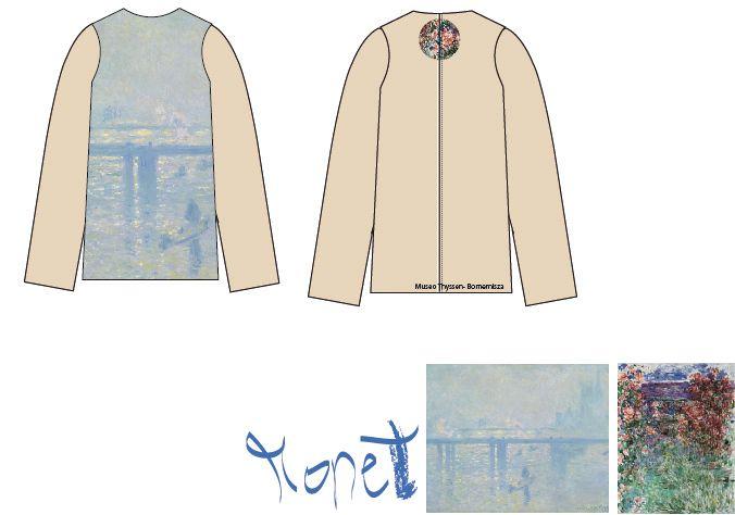 Diseño de Sol Domínguez Sánchez-Beato inspirado en las obras de Claude Monet  La casa entre las rosas http://www.museothyssen.org/thyssen/ficha_obra/688 y El puente de Charing Cross http://www.museothyssen.org/thyssen/ficha_obra/677  #CamisetasThyssen