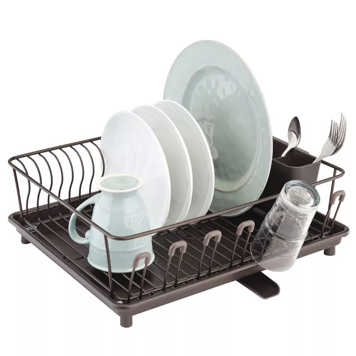 Mdesign Large Kitchen Dish Drying Rack With Swivel Spout 3 Pieces