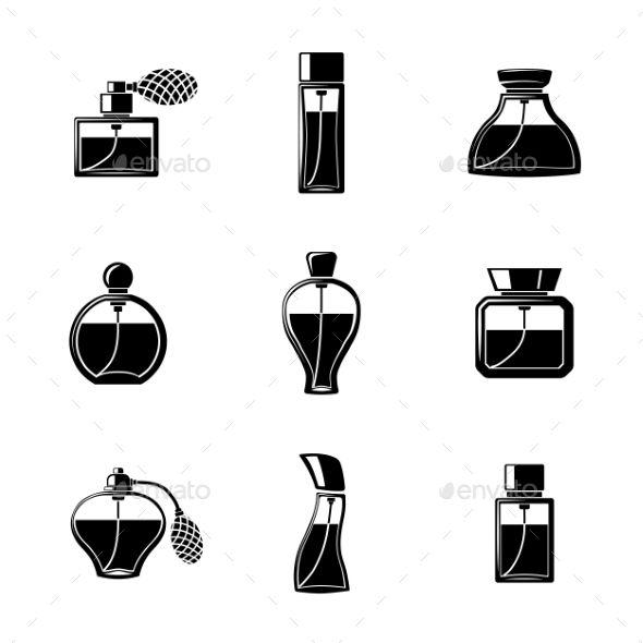 Perfume Icons Set With Different Shapes Of Bottles Perfume Logo Icon Set Perfume Design