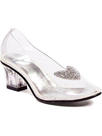 f942bd66c1ad 2 Inch Heel Clear With Silver Glitter Heart Slipper Children s. (Clear Silver Small)  ❤ ELLIE SHOES