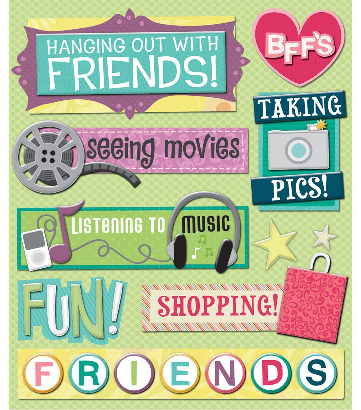 SANDYLION ESSENTIALS FRIENDS FRIENDSHIP BFF DIMENSIONAL 3D SCRAPBOOK STICKERS
