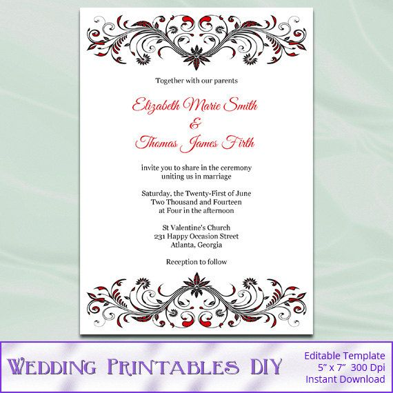 DIY Printable Invitation Templates   Red Black And White Wedding Invites    Editable Text   Instant  Invites Template