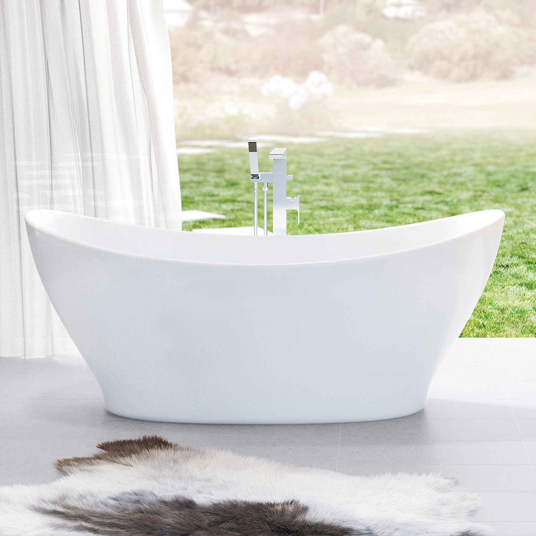 Caroma Cupid 1700 Freestanding Bath - curved vessel design http ...