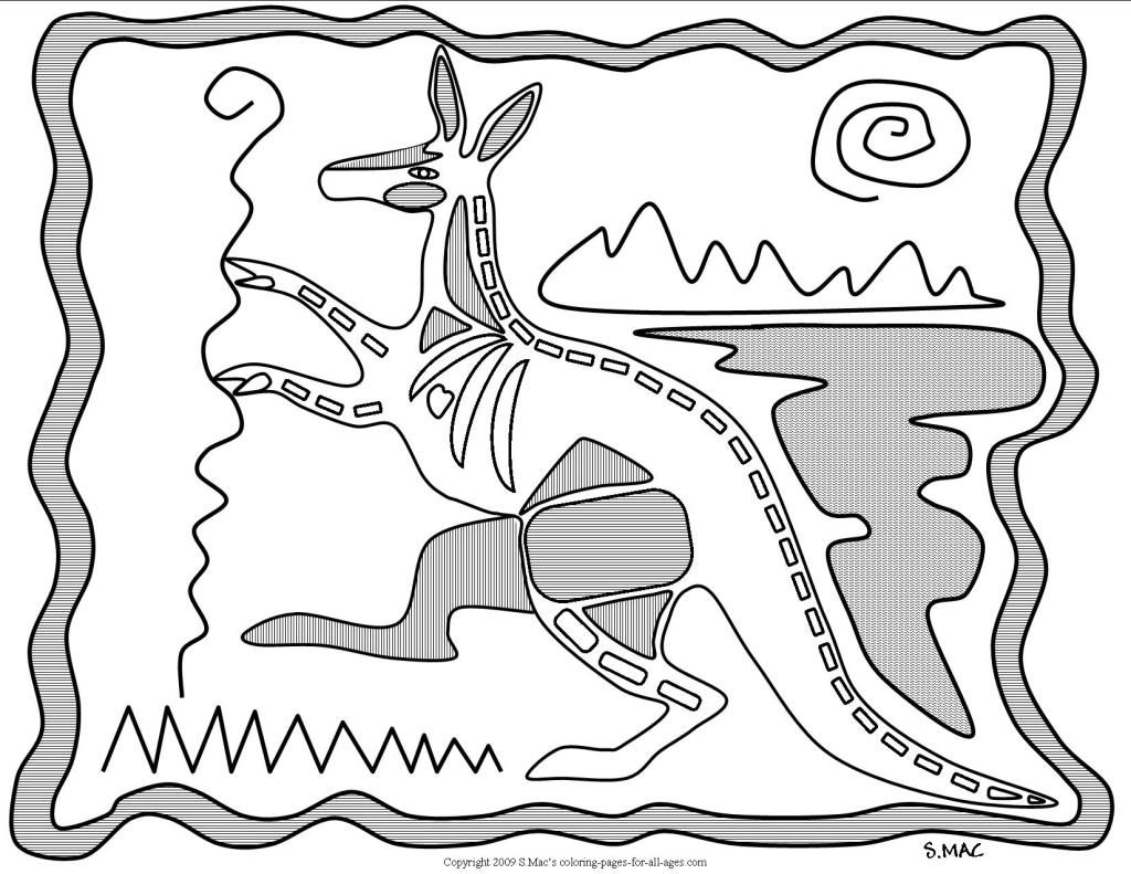 S.Mac\'s X-ray Art Kangaroo Coloring Page | Art Australia | Pinterest ...
