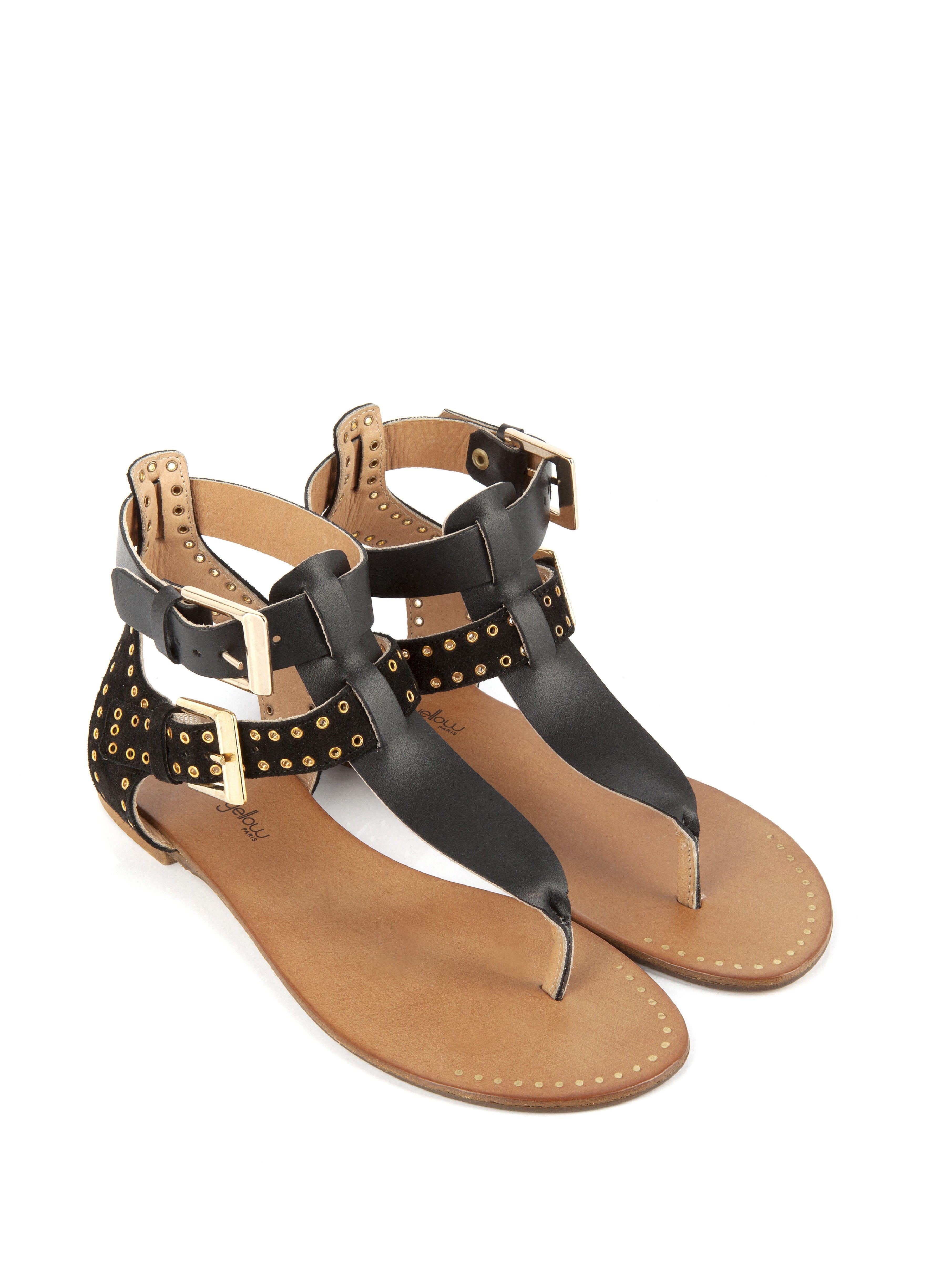 sandale plate vrapelli noir - sandale plate - chaussures femme