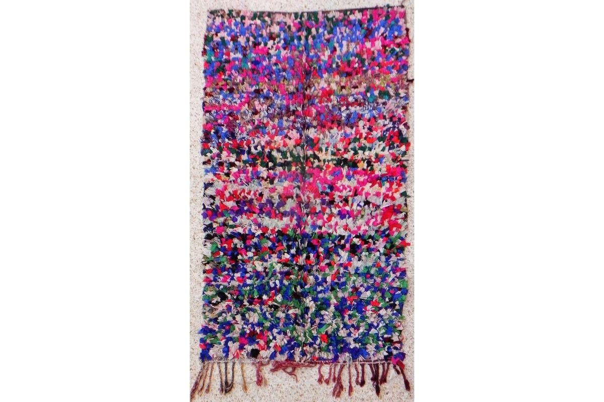 tapis marocain boucharouette multicolore sans motif cabane indigo a decouvrir sur http