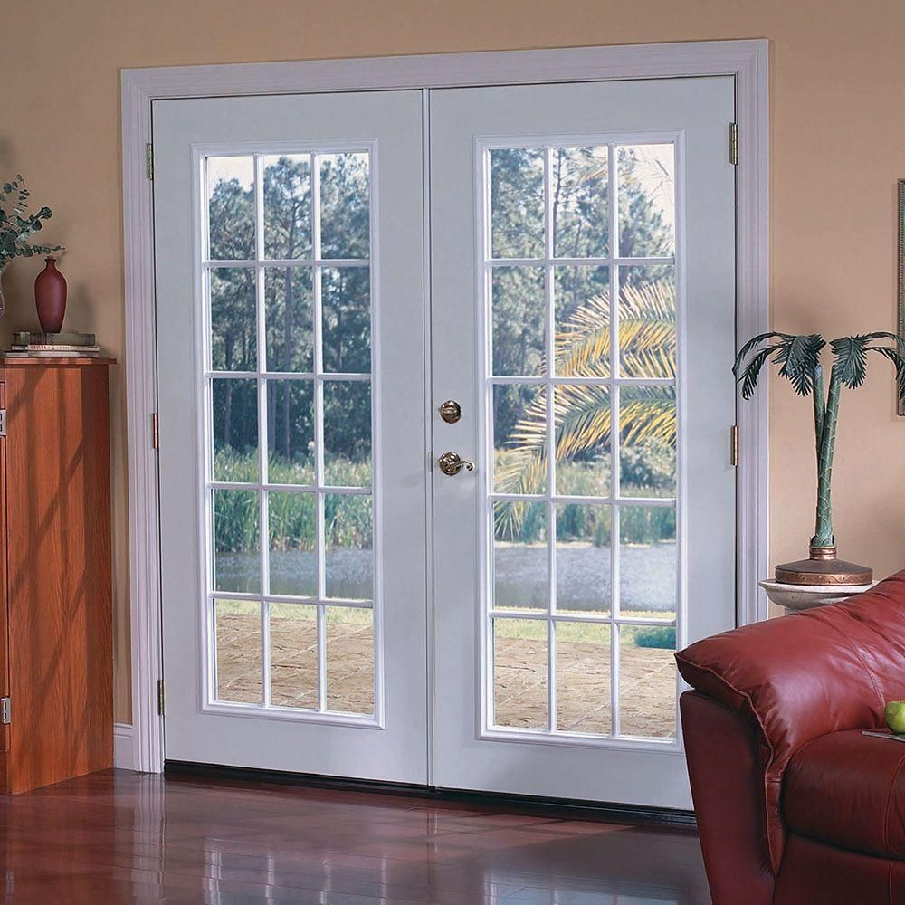 Ultra White Prehung Right Hand Inswing 15 Lite Steel Patio Door With  Brickmold, Ultra Pure White