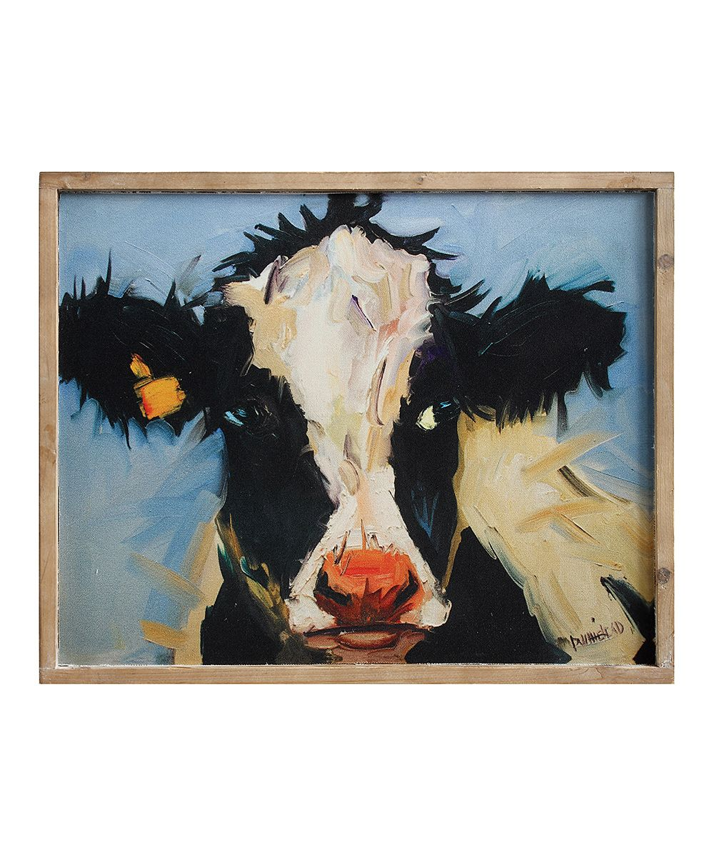 Blue u black framed cow canvas blue canvases and cow